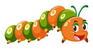 Caterpillar w pomarańczowym i zielonym kolorze ilustracja wektor