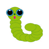 Caterpillar on white background. Green caterpillar on white background. Vector illustration Stock Photography