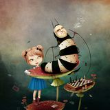 Caterpillar Wonderland. Conceptual fantasy tale illustration for Wonderland with caterpillar and  girl on mushroom. Computer graphics Stock Photo