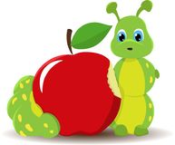 Caterpillar worm with red apple. Funny baby illustration. Isolated on white background stock illustration
