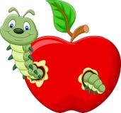 Caterpillars cartoon eat the apple Royalty Free Stock Photos