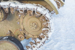 Caterpillars covered by snow tank t-70 Stock Images