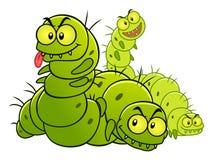 Caterpillars. Four green evil caterpillars. Garden pest illustration royalty free illustration