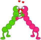 2 caterpillars full of love Stock Images