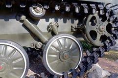 Caterpillars of the old tank Stock Photo