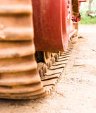 Caterpillars of the tractor. Car engine, Sugar cane harvest Stock Photo