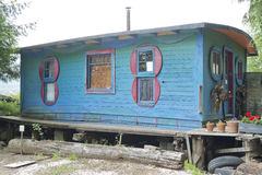 Cates Park blue shanty shack. Last remaining blue cabin built in Cates Park in the 1930s by sailors, squatters and artists Stock Photos