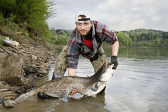 Catfish. A happy fisherman presenting his fishing trophy caught in a Polish lake - catfish (Silurus glanis stock photography