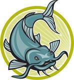 Catfish Attacking Circle Cartoon Royalty Free Stock Photos