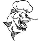 Catfish Chef Illustration. A vector illustration of a Catfish Chef Stock Photos