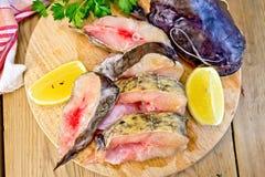 Catfish crude on board Stock Photography