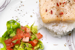Catfish filet on a plate. Catfish with aromatic herbs, rice and salad Stock Photography