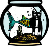 Catfish FishBowl. Woodcut style image of a catfish mermaid in a fish bowl Stock Photography