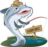 Catfish Fisherman royalty free illustration