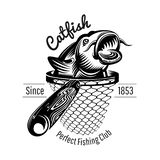 Catfish head up from landing net in engraving style. Logo for fishing or fishing shop isolated. On white stock illustration