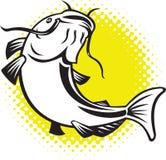 Catfish jumping up with halftone dots Royalty Free Stock Photos