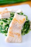 Catfish on spinach risotto Royalty Free Stock Photography