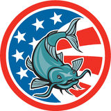 Catfish Swimming American Flag Circle Cartoon Royalty Free Stock Image