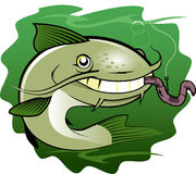 Catfish and Worm. Cartoon of a happy catfish biting a worm Stock Photos