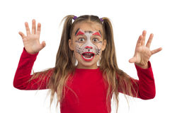 Catgirl. Pretty young girl posing with the cat face makeup stock photography