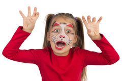 Catgirl. Pretty young girl posing with the cat face makeup stock images