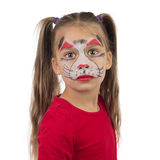 Catgirl. Pretty young girl posing with the cat face makeup stock photos