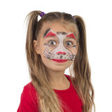 Catgirl. Pretty young girl posing with the cat face makeup royalty free stock image