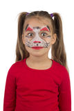 Catgirl. Pretty young girl posing with the cat face makeup royalty free stock images