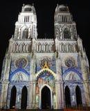 Cathédrale à Orléans (France) la nuit Photos stock