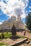 Cathédrale d'épiphanie dans le monastère de Nilov sur le lac Seliger, région de Tver Image stock