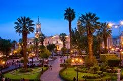 Cathédrale d'Arequipa le soir, Pérou Image stock