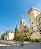 Cathédrale d'Avignon à côté de palais papal images libres de droits