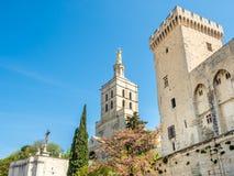 Cathédrale d'Avignon à côté de palais papal photos libres de droits