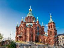Cathédrale d'Uspenski, Helsinki à l'été Sunny Day Église rouge dedans Image libre de droits