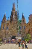 Cathédrale de Barcelone en construction dans le quart gothique dedans Images libres de droits