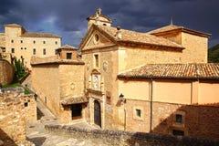 Cathédrale de Cuenca pendant un orage Images stock