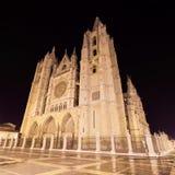 Cathédrale de Léon la nuit, Léon, Espagne photo stock