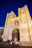 Cathédrale de Lisbonne au crépuscule Photo libre de droits