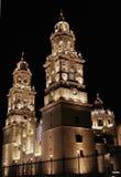 Cathédrale de Morelia de vue de nuit Photographie stock libre de droits