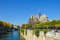 Cathédrale de Notre Dame à côté de la rivière de Paris avec des bateaux et l'été de bâtiments Images libres de droits