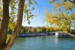 Cathédrale de Notre Dame à côté de la rivière de Paris avec des bateaux et l'été de bâtiments Image stock