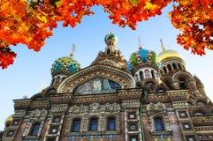 Cathédrale de notre sauveur sur le sang renversé, St Petersburg Photos stock