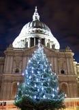 Cathédrale de rue Paul avec un arbre de Noël Photo libre de droits