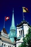 Cathédrale de rue Pierre, Genève Photographie stock