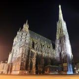 Cathédrale de rue Stephan à Vienne la nuit photographie stock