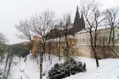 Cathédrale de rue Vitus en hiver Image libre de droits