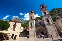 Cathédrale de saint Tryphon, vieille ville de Kotor, Monténégro - août images libres de droits