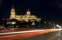 Cathédrale de Salamanque la nuit Images libres de droits