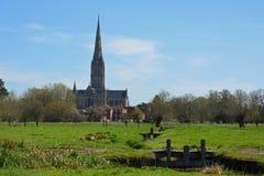 Cathédrale de Salisbury des prés de l'eau, WILTSHIRE, Angleterre photographie stock