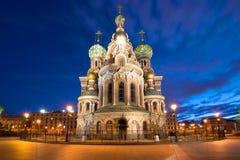 Cathédrale de sauveur de résurrection sur le sang la nuit de mai St Petersburg, Russie Image stock